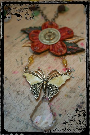 Flower - Butterfly Necklace Close-up 2