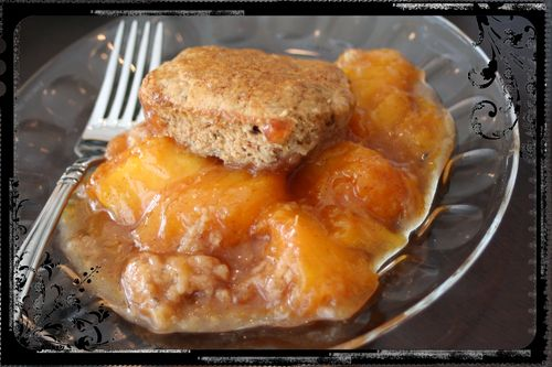 Candied Bacon Peach Cobbler