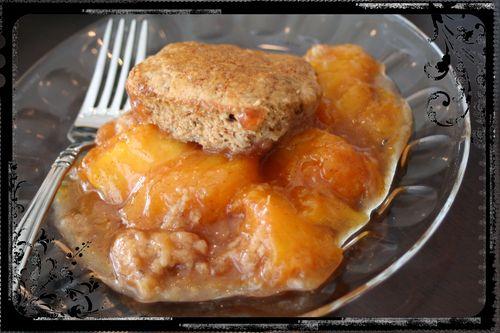 Candied Bacon Peach Cobbler
