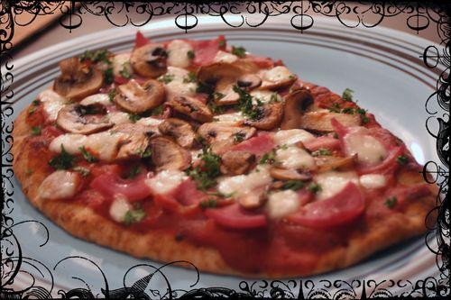 Ham and Mushroom Whole Wheat Pizza