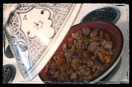 Chicken and Apricot Tagine Cooking