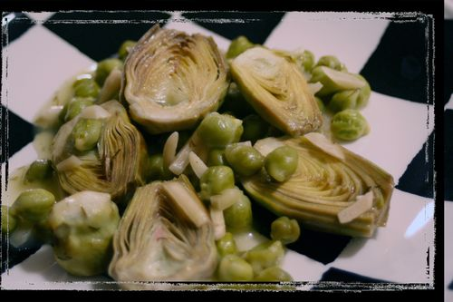 Artichokes with Almonds and Green Garbanzos