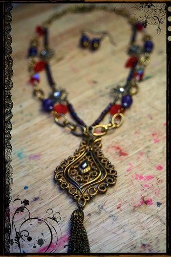 Purple and Orange Necklace Close-up
