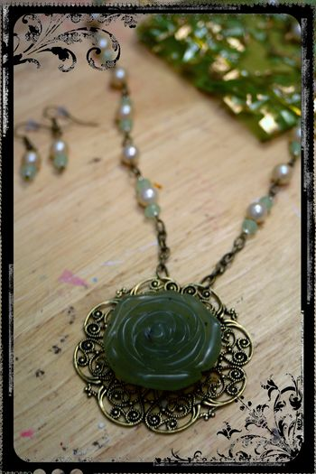 Mom's Jade Necklace - Close-up