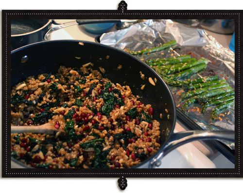 Farro, Kale, Almond and Pomegranate Prep