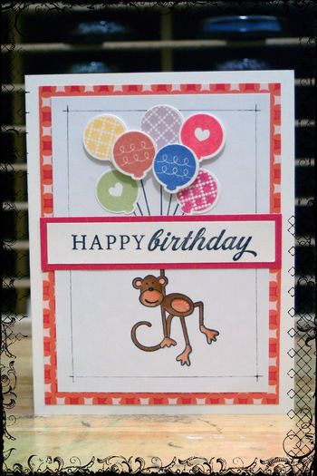Monkey with Balloons b-day card