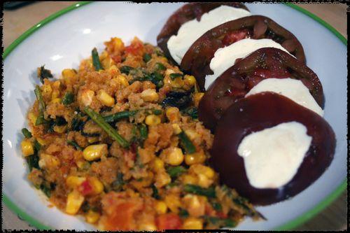 Ancho Veggie Polenta with Heirloom Tomato and Mozarella