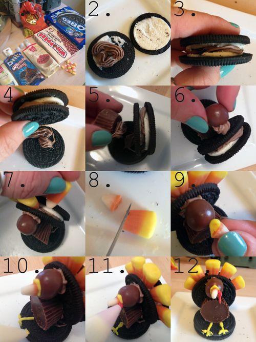 Oreo-Candy Turkeys Step-by-Step