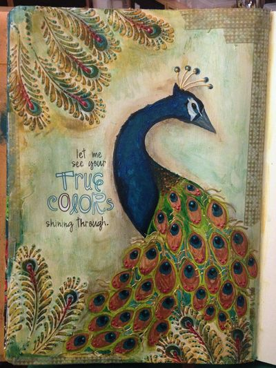 Painted Peacock Art Journal Page - Gwen Lafleur