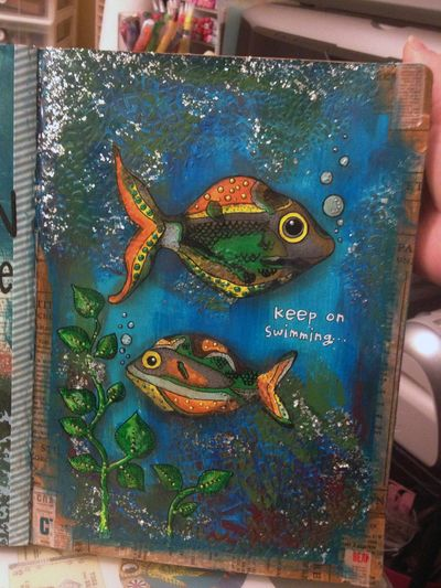 Keep on Swimming - Fish Art Journal Page - Gwen Lafleur