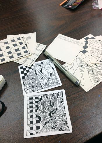 Beginning Zentangle Class Practice Tiles