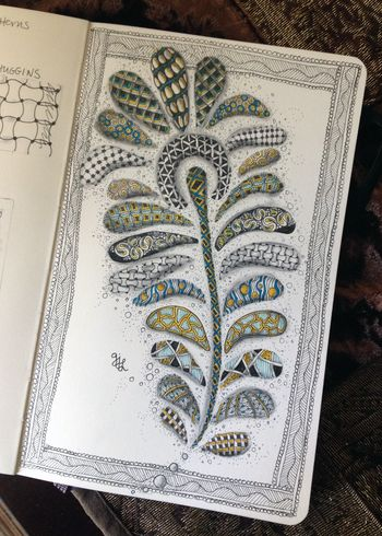 Zentangle Peacock Feather - Gwen Lafleur