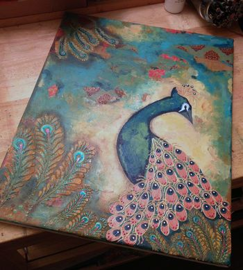 Peacock Mixed Media Canvas - After 1