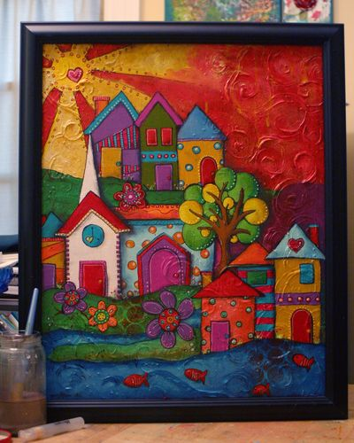 Funky Little Cityscape Canvas - Gwen Lafleur