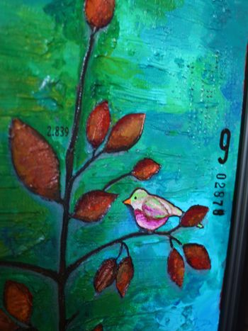 Birds on a Tree Canvas - Detail 1 - Gwen Lafleur