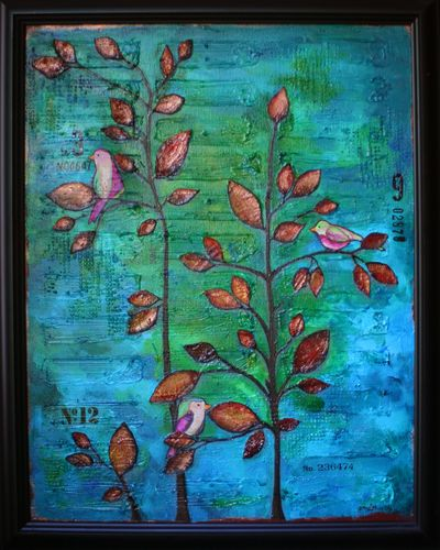 Birds on a Tree Canvas Framed - Gwen Lafleur