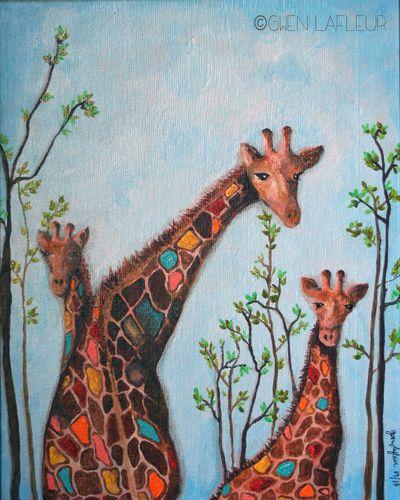 3 Giraffes - Gwen Lafleur wC