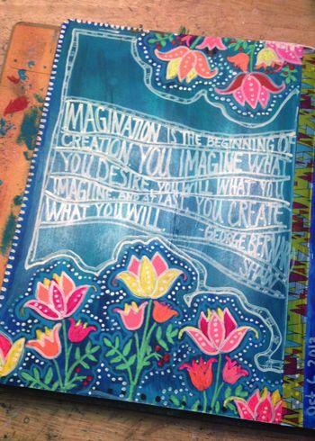 Jellyfish Art Journal Page - Gwen Lafleur
