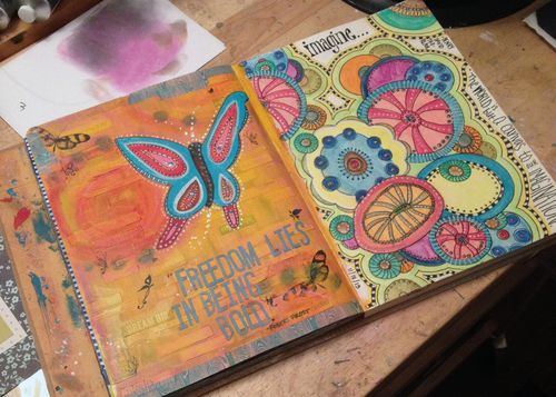 Freedom and Imagine Art Journal Pages - Gwen Lafleur