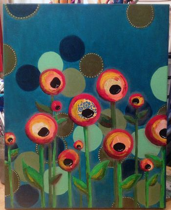 Mixed Media Poppy Canvas