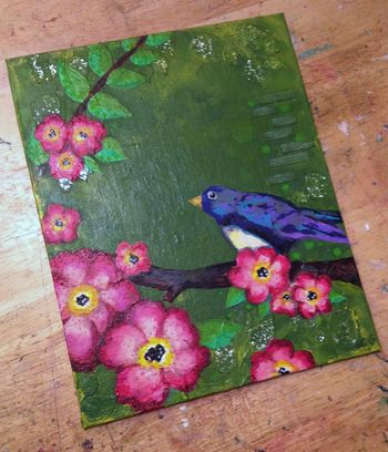 Bird on a Branch Mixed Media - Gwen Lafleur