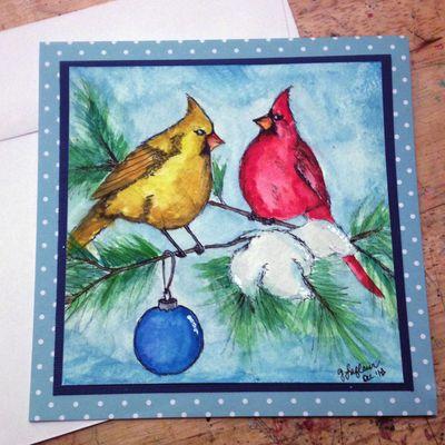Christmas Birds Pen Sketch - Gwen Lafleur