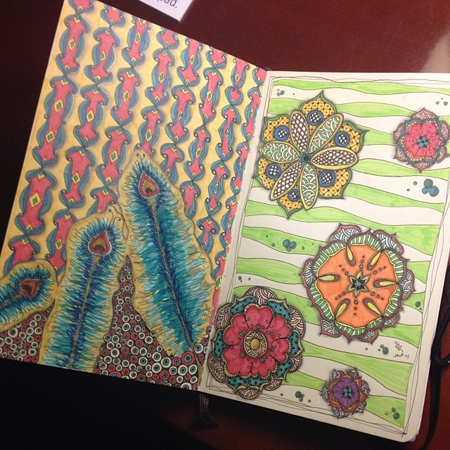 Still_doodling_away_when_I_get_a_few_minutes..._Just_finished_the_one_on_the_right_last_night.__zentangle__zendoodle__doodle__moleskine