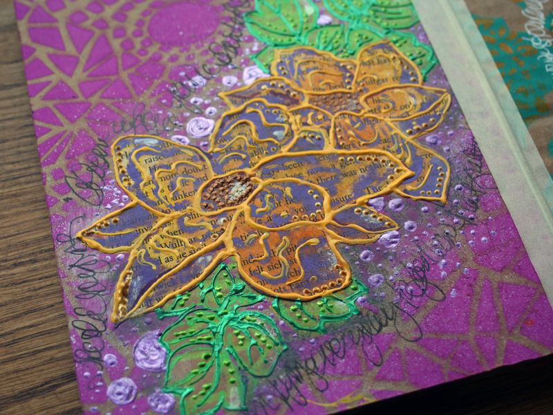 Stenciled Cardboard Art Journal P3 close-up - Gwen Lafleur