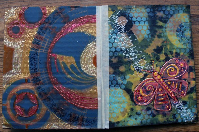 Stenciled Cardboard Art Journal Pgs 9-10 - Gwen Lafleur