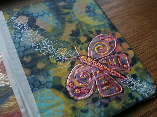 Stenciled Cardboard Art Journal P10 close-up - Gwen Lafleur