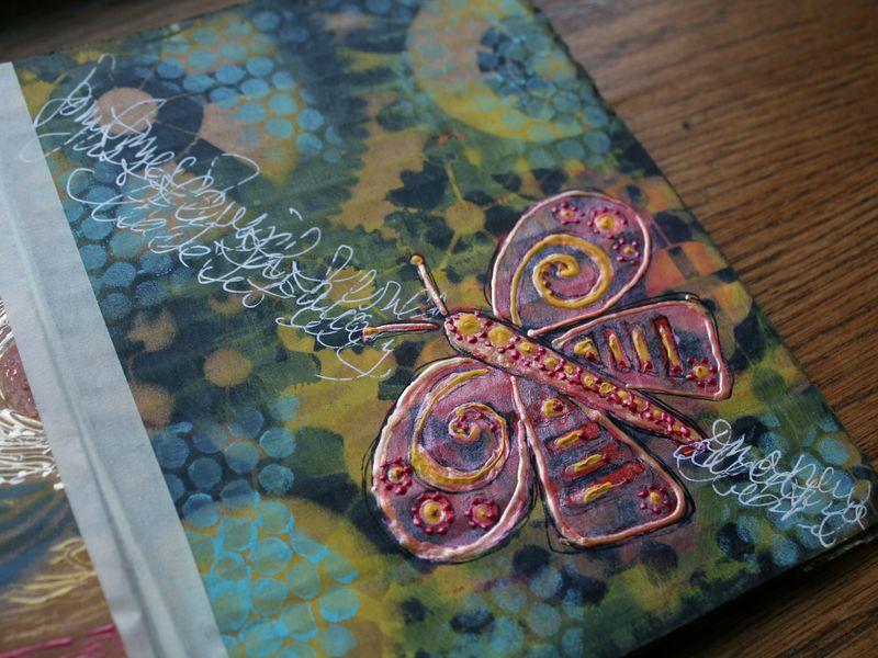 Stenciled Cardboard Art Journal P10 close-up - Gwen Lafleur