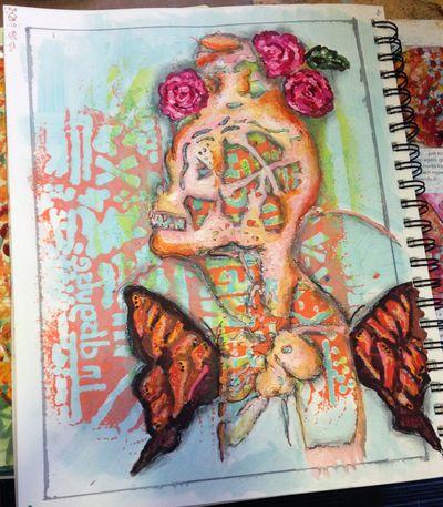 Orly Avineri Stencils Art Journal Page 2 - Gwen Lafleur