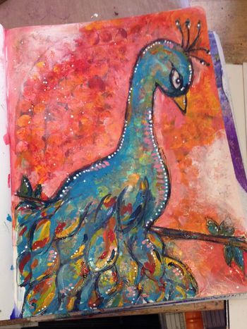 Paint Mojo Peacock Art Journal Page - Gwen Lafleur