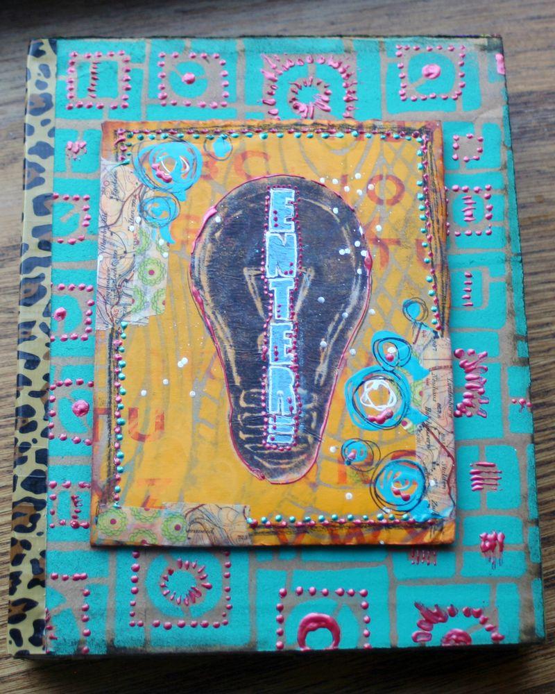 Stenciled Cardboard Art Journal Cover - Gwen Lafleur