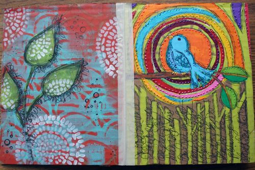 Stenciled Cardboard Art Journal Pgs 1-2 - Gwen Lafleur