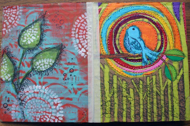 Stenciled Cardboard Art Journal Pgs 1-2 - Gwen Lafleur