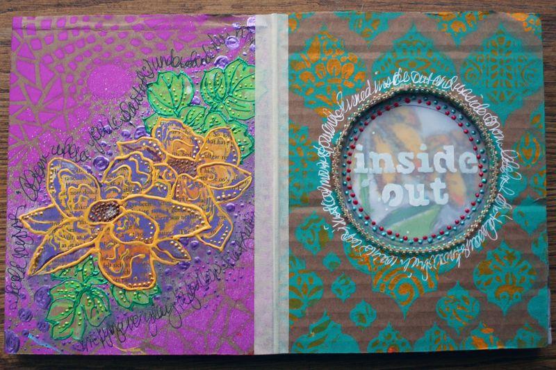 Stenciled Cardboard Art Journal Pgs 3-4 - Gwen Lafleur