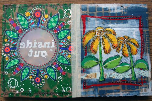 Stenciled Cardboard Art Journal Pgs 5-6 - Gwen Lafleur