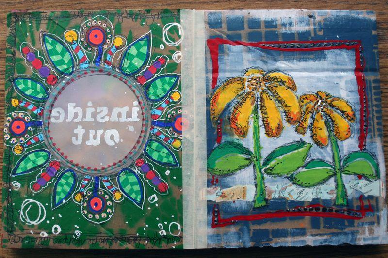 Stenciled Cardboard Art Journal Pgs 5-6 - Gwen Lafleur