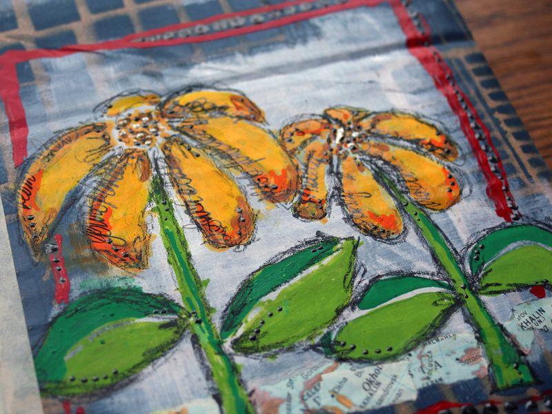 Stenciled Cardboard Art Journal P6 close-up - Gwen Lafleur