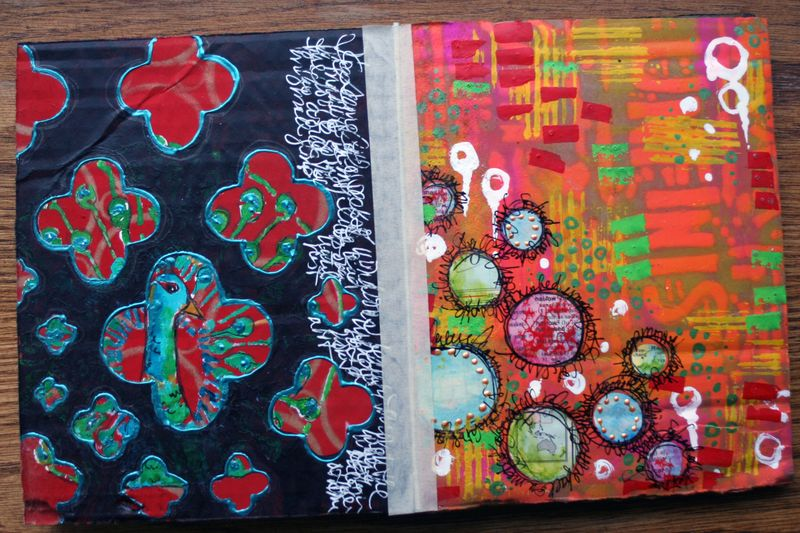 Stenciled Cardboard Art Journal Pgs 7-8 - Gwen Lafleur