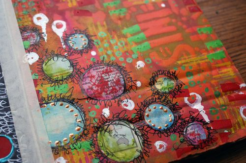 Stenciled Cardboard Art Journal P7 close-up - Gwen Lafleur