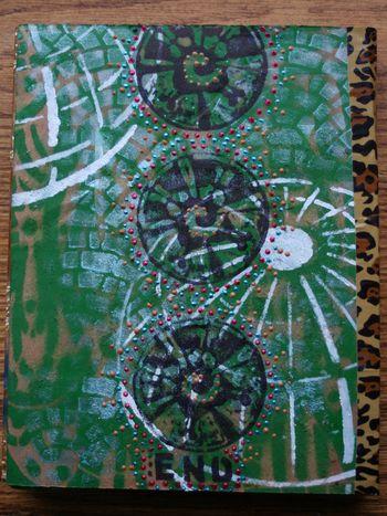 Stenciled Cardboard Art Journal back cover - Gwen Lafleur