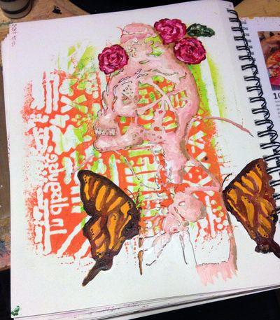 Orly Avineri Stencils Art Journal Page 1 - Gwen Lafleur
