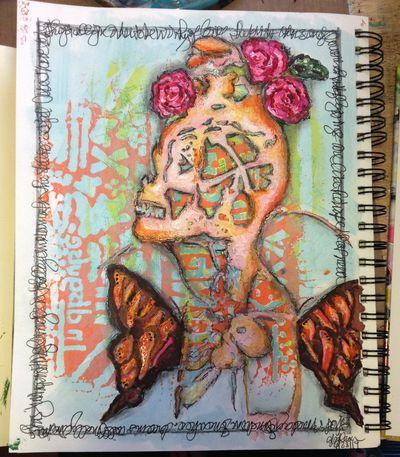 Orly Avineri StencilGirl Stencils Art Journal Page - Gwen Lafleur