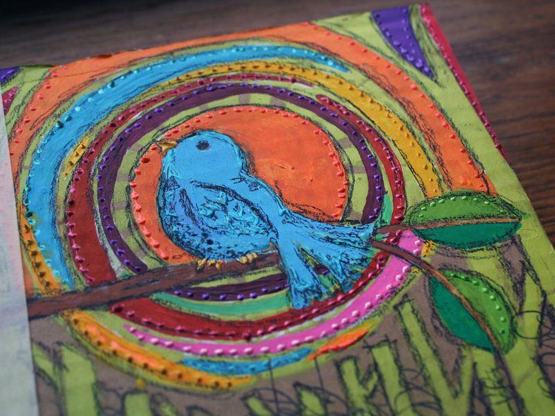 Stenciled Cardboard Art Journal P2 close-up - Gwen Lafleur