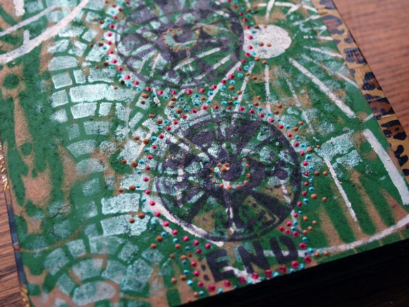 Stenciled Cardboard Art Journal back cover closeup - Gwen Lafleur
