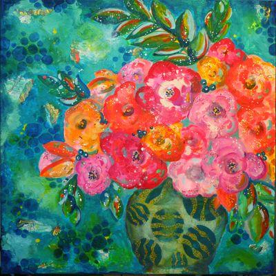 DecoArt Media and StencilGirl Painting by Gwen Lafleur