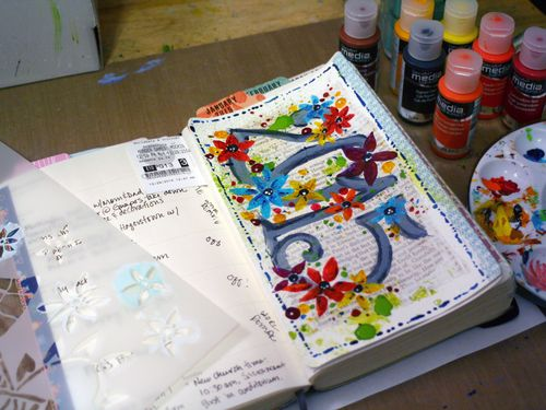 StencilGirl-DecoArt Journal Page 5 - Gwen Lafleur