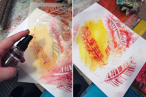 Color Burst Technique - Stenciling - Gwen Lafleur